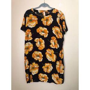 Forever21 Black/Orange Floral Dress 1X